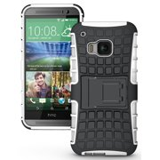NAKEDCELLPHONE'S WHITE GRENADE GRIP RUGGED TPU SKIN HARD CASE COVER STAND FOR HTC ONE M9 PHONE (Verizon, Sprint, AT&T, T-Mobile, Unlocked, One M9 2015)