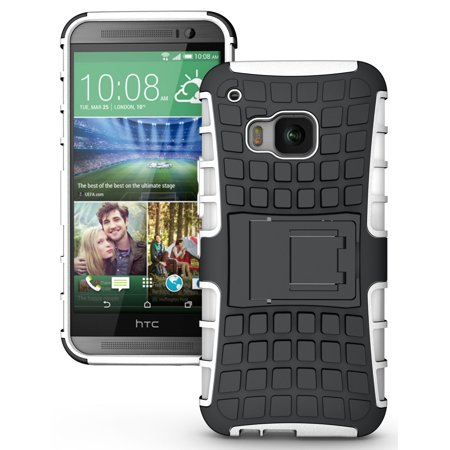 NAKEDCELLPHONE'S WHITE GRENADE GRIP RUGGED TPU SKIN HARD CASE COVER STAND FOR HTC ONE M9 PHONE (Verizon, Sprint, AT&T, T-Mobile, Unlocked, One M9 (Cs Go Best M9 Bayonet Skin)