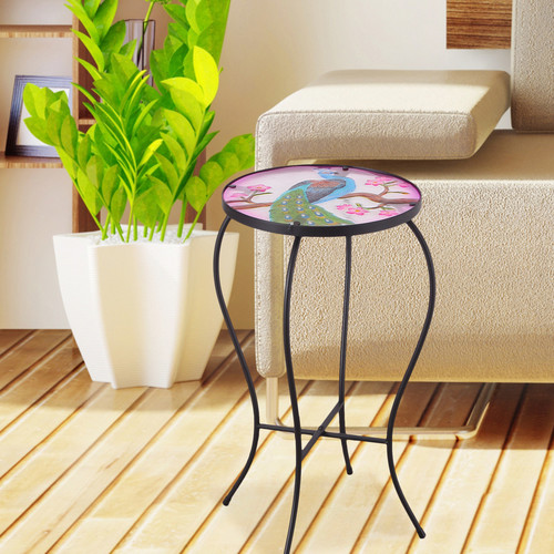 Adeco Accent Round Glass Top Side Table   Plant Stand by Adeco