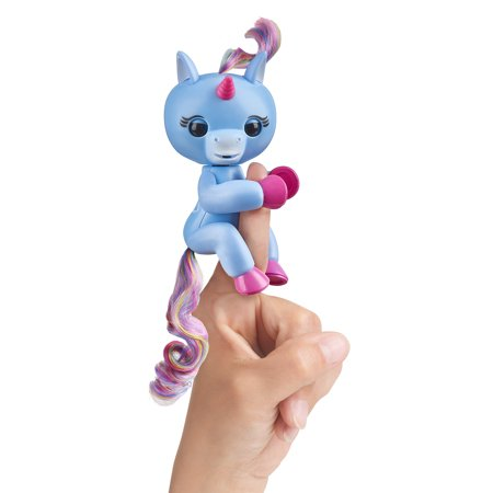 Fingerlings Baby Unicorn - Stella (Periwinkle Blue with Rainbow Mane and Tail) - Friendly Interactive Toy by WowWee