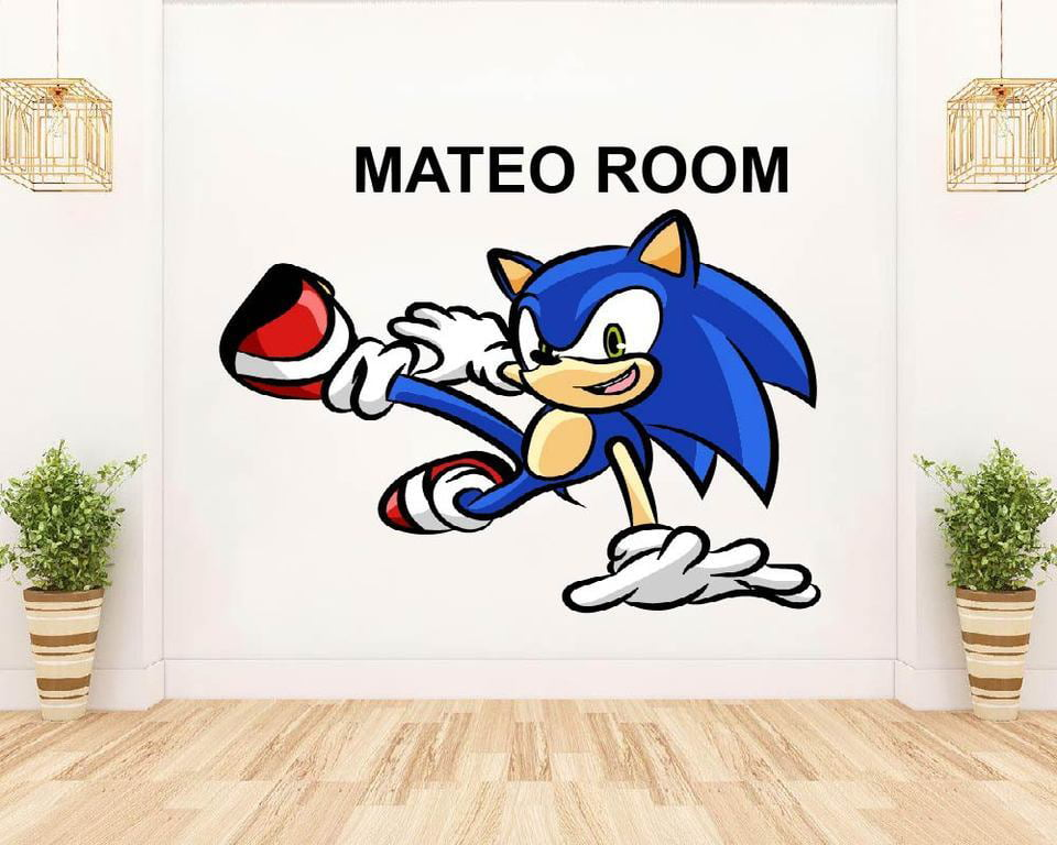 Super Sonic The Hedgehog Video Games Inspired Wall Art Design Customized Name Wall Decal Custom Vinyl Wall Personalized Name Baby Girl Boy Kid Bedroom House Wall Decoration Size 20x18