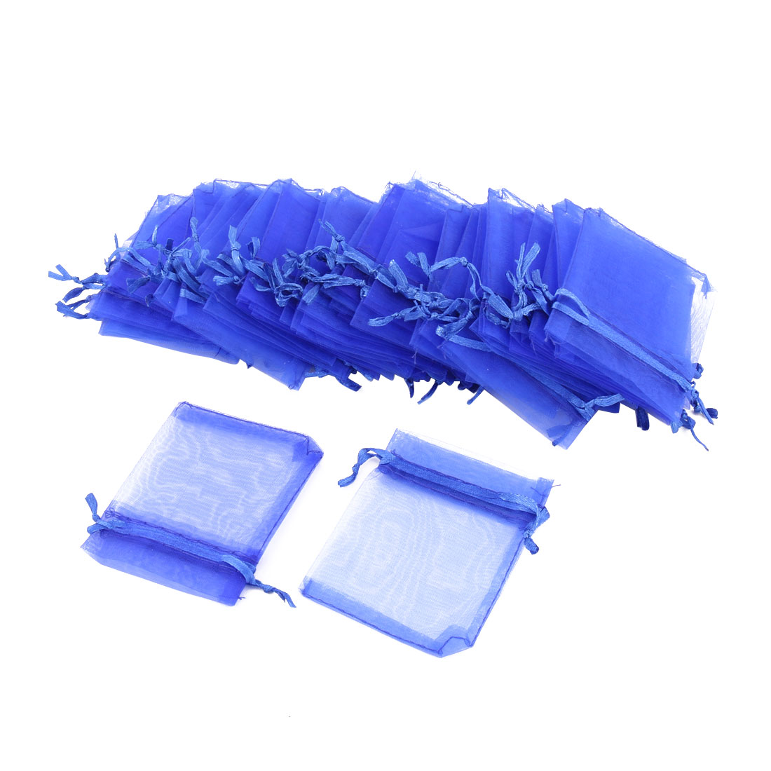 Candy Jewelry Packing Pouches Gift Organza Bags Blue 50 Pcs
