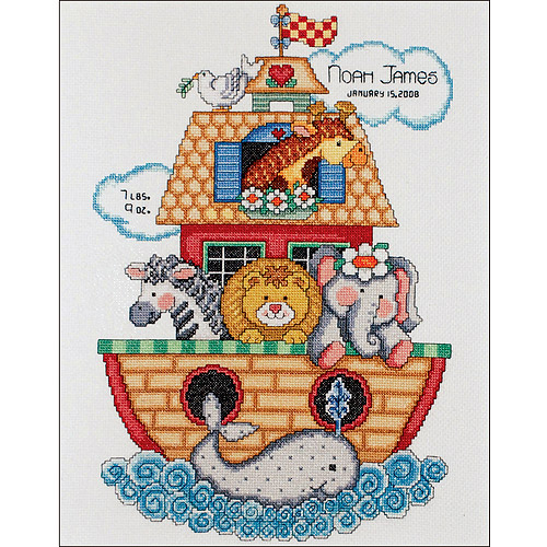 "Tobin Noah's Ark Birth Record Counted Cross Stitch Kit, 11"" x 14"", 14 Count"