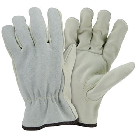 Top Grain Cowhide Leather Work Gloves with Split Leather Back (Sold by Dozen) Size Large