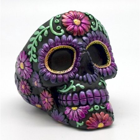Metallic Purple Floral Sugar Skull Day of the Dead Ashtray Dia de Los Muertos - Dia De Los Muertos Cat