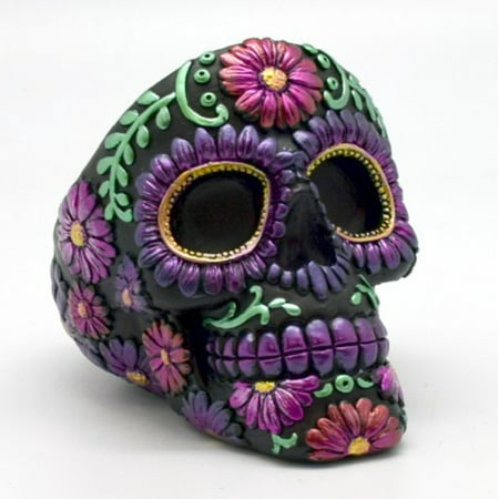 Metallic Purple Floral Sugar Skull Day of the Dead Ashtray Dia de Los Muertos - Dia De Los Muertos Skull