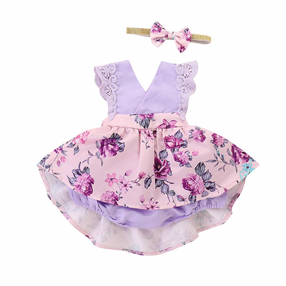 4908992fc66 Dilwe Baby Girls Ruffle Floral Jumpsuit Princess Lace Romper Dress Playsuit+Headband  Outfits