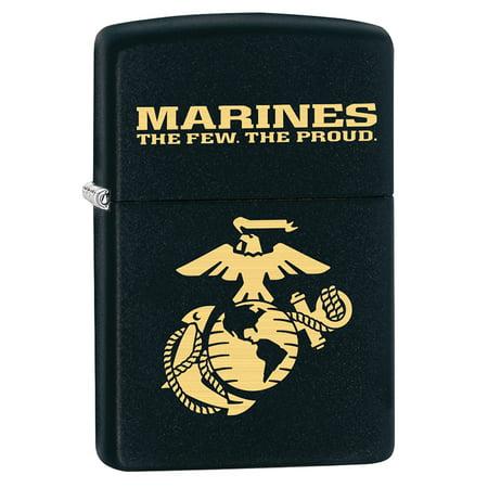 Zippo Lighter: USMC Marine Corps Logo - Black Matte