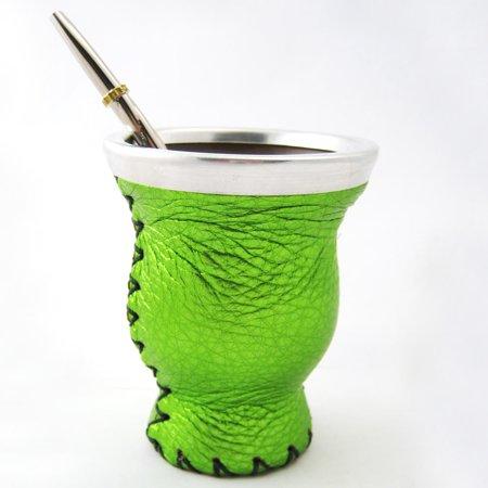 Mate Gourd Leather Glass Bombilla Straw Argentina Gaucho Detox Drink Tea