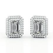 Certified - 1.25 Carat Emerald Cut Moissanite Prong Dual Halo Set Stud Earrings - 10K White Gold