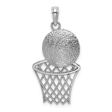 14K White Gold Solid Diamond-Cut Basketball & Net Charm Pendant ()
