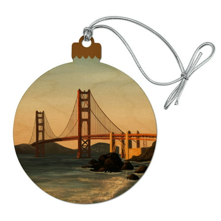 Golden Gate Bridge San Francisco Wood Christmas Tree Holiday Ornament