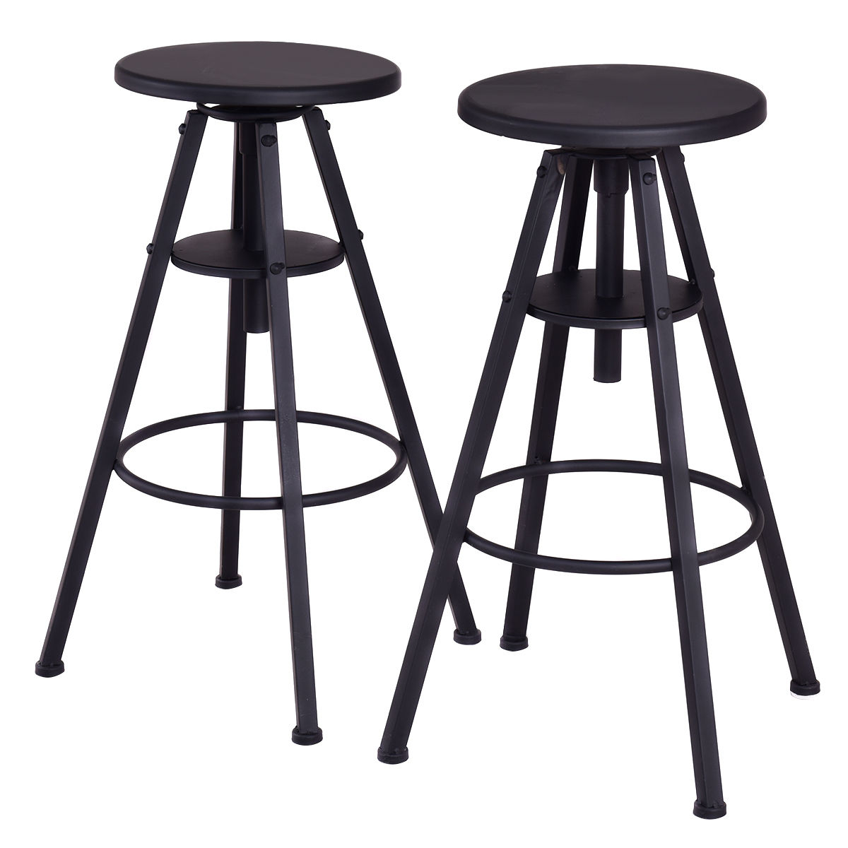 Costway Set of 2 Vintage Bar Stools Height Adjustable Metal Pub Chairs Black by Costway