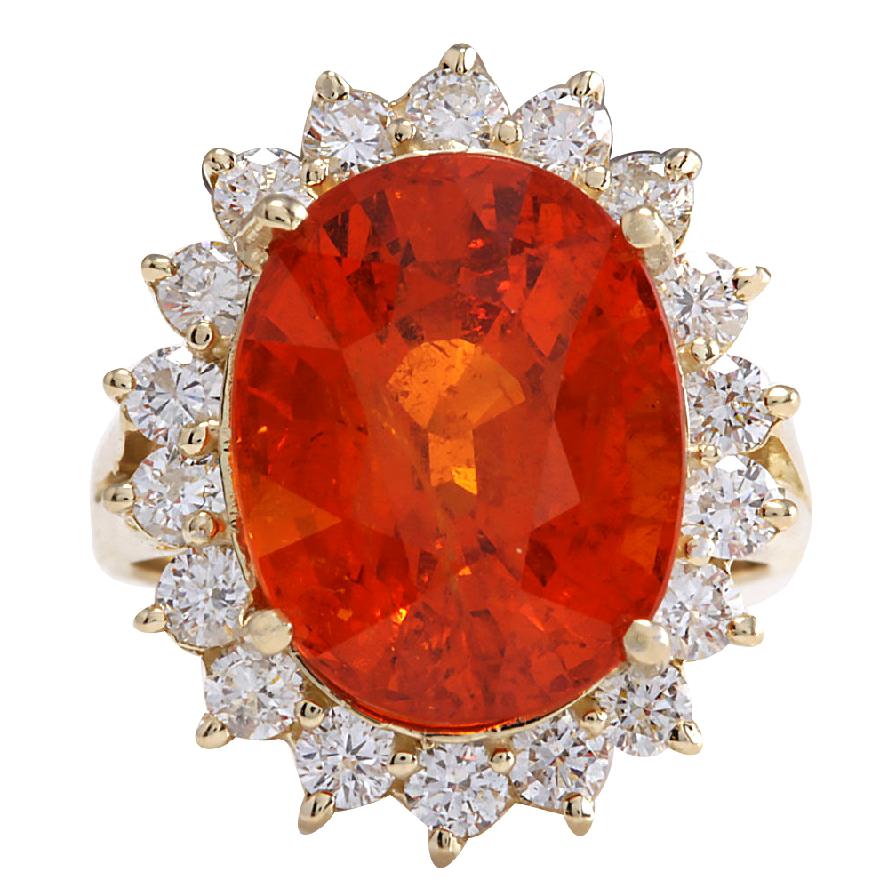 12.41CTW Natural Mandarin Garnet And Diamond Ring 14K Solid Yellow Gold by