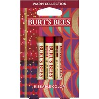 ($15 Value) Burt's Bees Kissable Color Holiday Gift Set, 3 Lip Shimmers In Gift Box, Warm Collection In Peony, Fig And Rhubarb