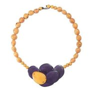 Faire Collection Isabela Seed and Tagua Necklace, Plum