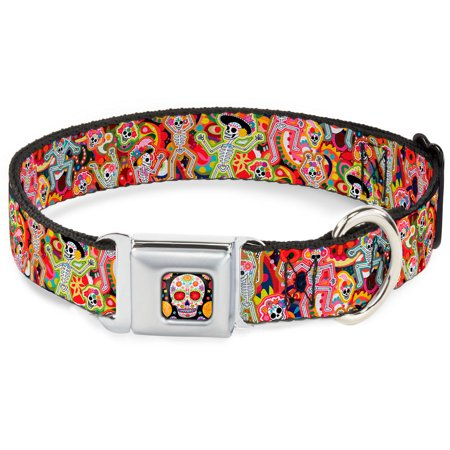Dog Collar TYA-Sugar Skull Starburst Full Color Black Multi Color - Dancing Pet Collar - Dog Sugar Skull