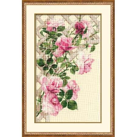 Riolis 16 Count Pink Roses on Lattice Counted Cross Stitch Kit, 13.75 by 21.75-Inch Multi-Colored