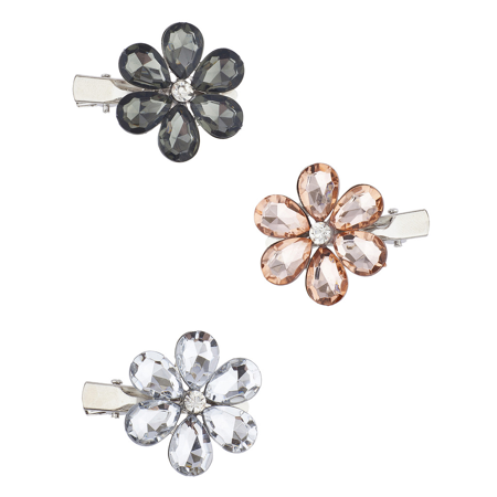 Lux Accessories Silver Tone Floral Flower Faux Gemstone Multi Hair Clip Pack 3PC