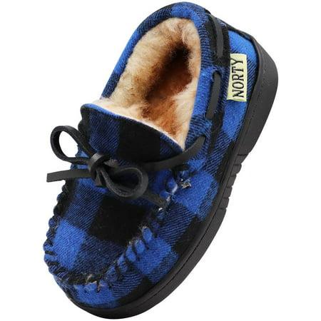 NORTY Toddler Little & Big Kid Boys Girls Fleece Plaid Moccasin Slip On Slipper, 40914 Royal Blue Buffalo Plaid / 9MUSToddle Plaid Creeper Shoe