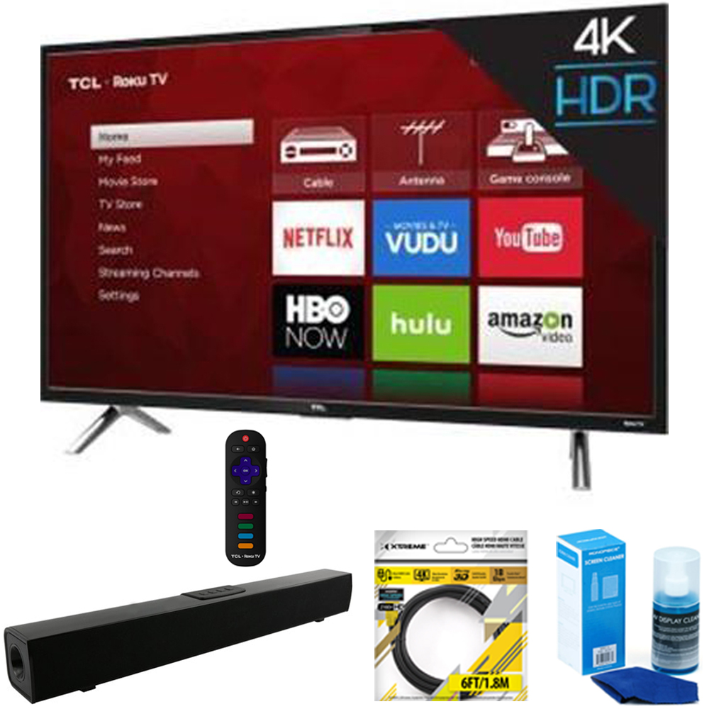 "TCL 55"" 4K Ultra HD Roku Smart LED TV 2017 Model (55S405) with Solo X3 Bluetooth Home Theater Sound Bar, 6ft High Speed HDMI Cable Black & Universal Screen Cleaner for LED TVs"