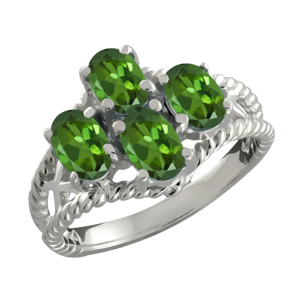 1.60 Ct Genuine Oval Green Tourmaline Gemstone 18k White Gold Ring by