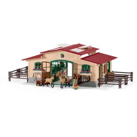 Stable With Horses And Accessories  Brown Stable