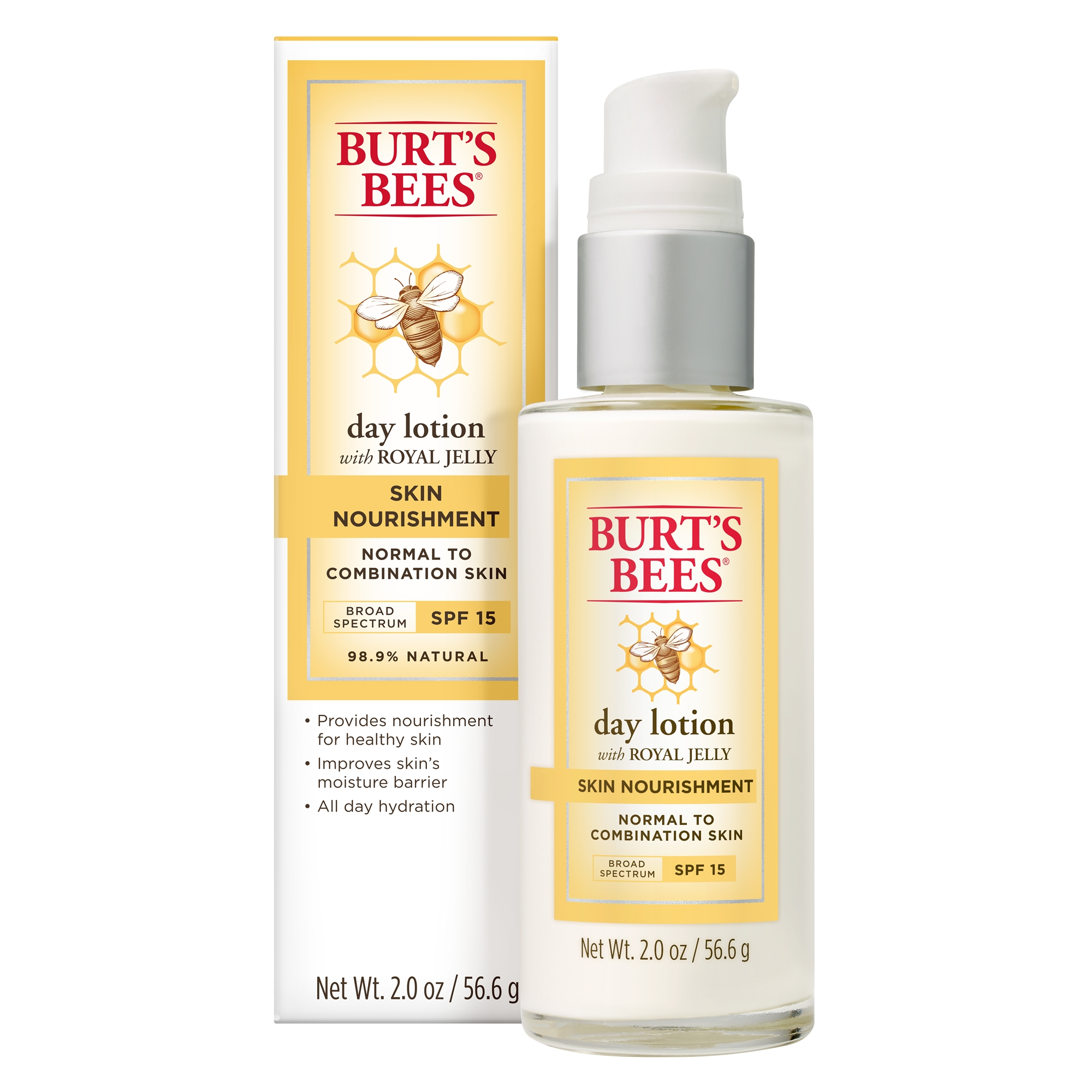Burt's Bees Skin Nourishment Day Lotion with SPF 15 for Normal to Combination Skin, 2 oz