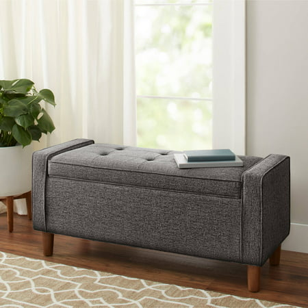 Upholstered Bench With Back - Better Homes and Gardens Flynn Mid Century Modern Upholstered Storage Bench, Multiple Colors