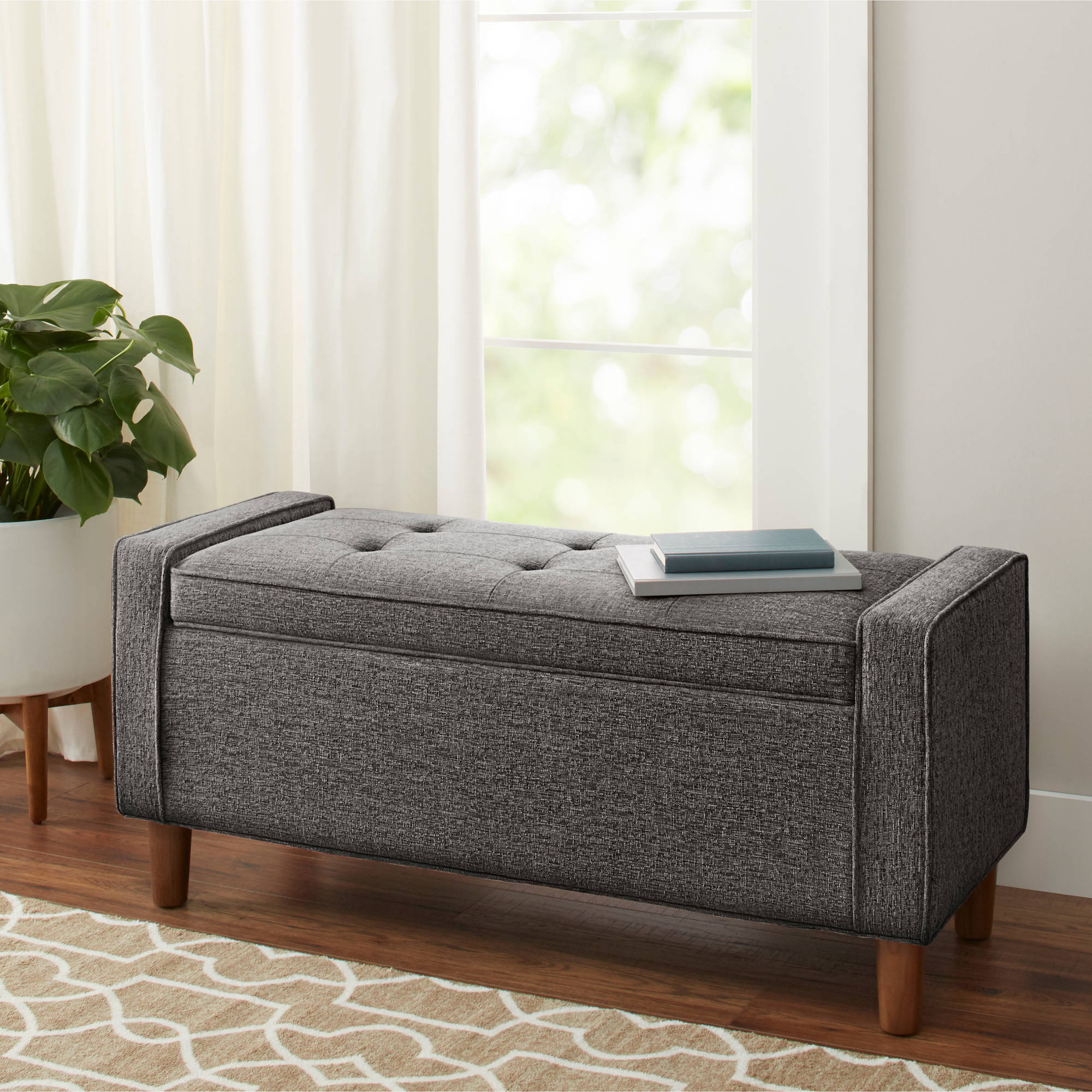 Better Homes And Gardens Flynn Mid Century Modern Upholstered Storage  Bench, Charcoal