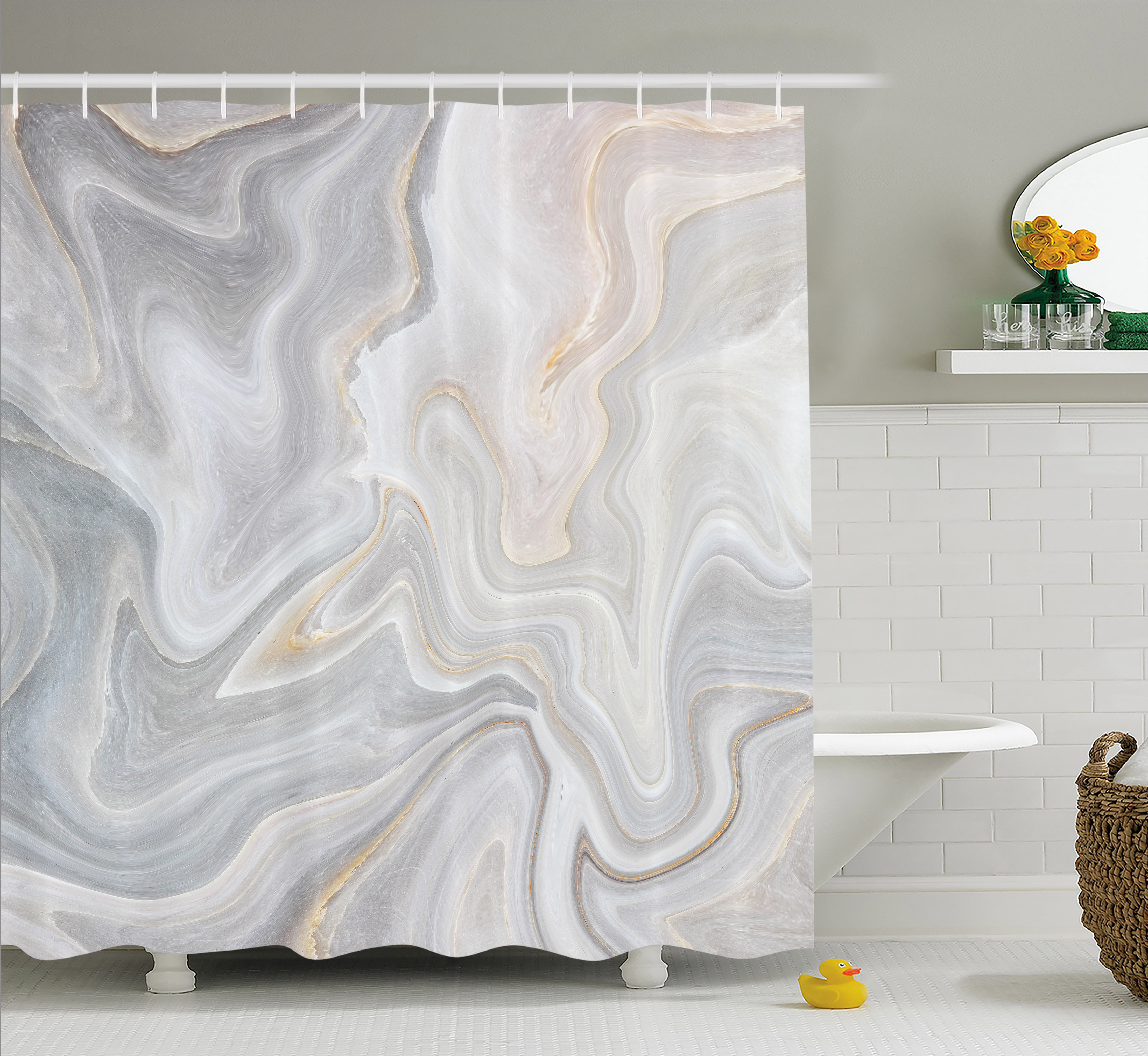 Marble Shower Curtain Nature Stone Color Splash Paintbrush Technique Stylish Vintage Design Fabric Bathroom Set With Hooks Pale Grey Sand Brown