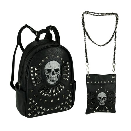 Gothic Skull Studded Concealed Carry Backpack and Crossbody Purse Set
