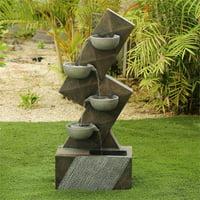 Luxen Home Resin Modern Tiered Pots Outdoor Fountain