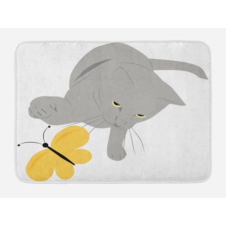 Grey and Yellow Bath Mat, Cat Pet Feline Best Friend Playing with Spring Butterfly Print, Non-Slip Plush Mat Bathroom Kitchen Laundry Room Decor, 29.5 X 17.5 Inches, Black Marigold and Grey,