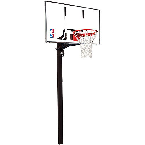 "Spalding 88454G NBA In-Ground Basketball System 54"" Aluminum Trim Glass Backboard"