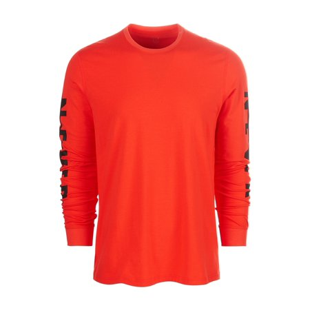 Ideology Mens Long Sleeve NEVER Graphic T-Shirt darkorange L - image 1 de 1