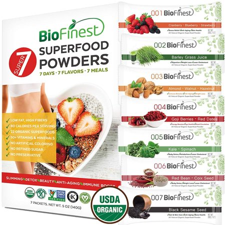 Biofinest Super-7 22-in-1 Powder - 7 Flavors 100% Pure Freeze-Dried Antioxidants Superfood - Meal Replacement Weight Loss Detox- For Smoothie Beverage (5oz, 7 Packs)