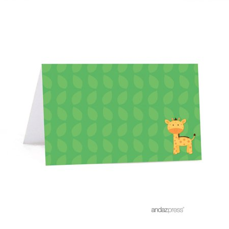 Jungle Safari Baby Shower Table Tent Printable Place Cards, 20-Pack