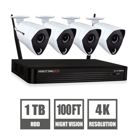 Night Owl 4 Channel 4K Ultra HD Security DVR with 4 4K Wired Cameras and 1TB Hard Drive