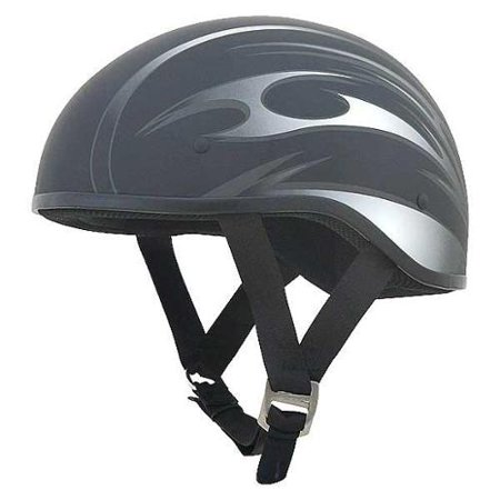 AFX FX-200 Slick Beanie Helmet Half Graphic Black/Flat (Afx Helmet Chin Vent)
