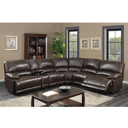 Olivia Transitional 6-Piece Sectional with 2 Power Recliners, 1 Armless recliner and Charging Storage Console with 2 Cup Holders, Dark Brown