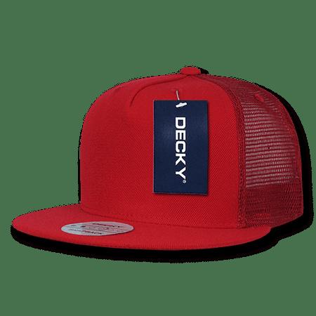 037fb12ce89 DECKY Flat Bill Trucker Constructed Baseball Caps Cap Hats For Men Women Red  - Walmart.com
