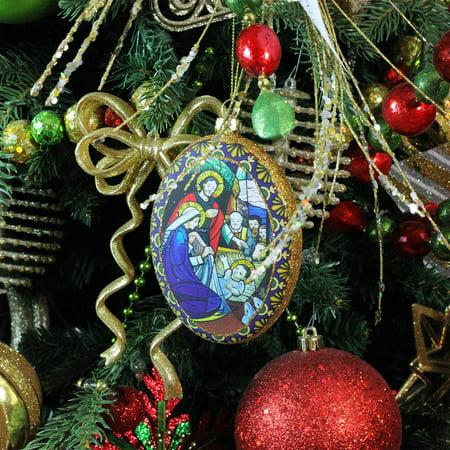 "4.75"" Nativity Scene Glitter Accented Religious Decorative Christmas Disc Ornament - image 1 ..."