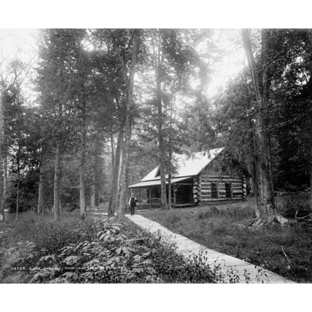 Stretched Canvas Art - Michigan: Log Cabin  /Na Log Cabin In