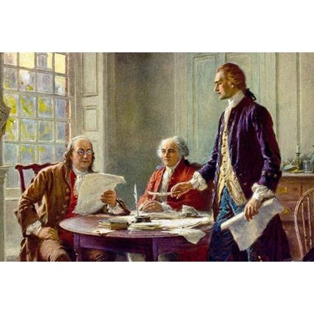 John Adams Thomas Jefferson and Benjamin Franklin gather to draft the Declaration of Independence in 1776 to assert Americas freedom from Great Britain Poster Print by Jean Leon Gerome