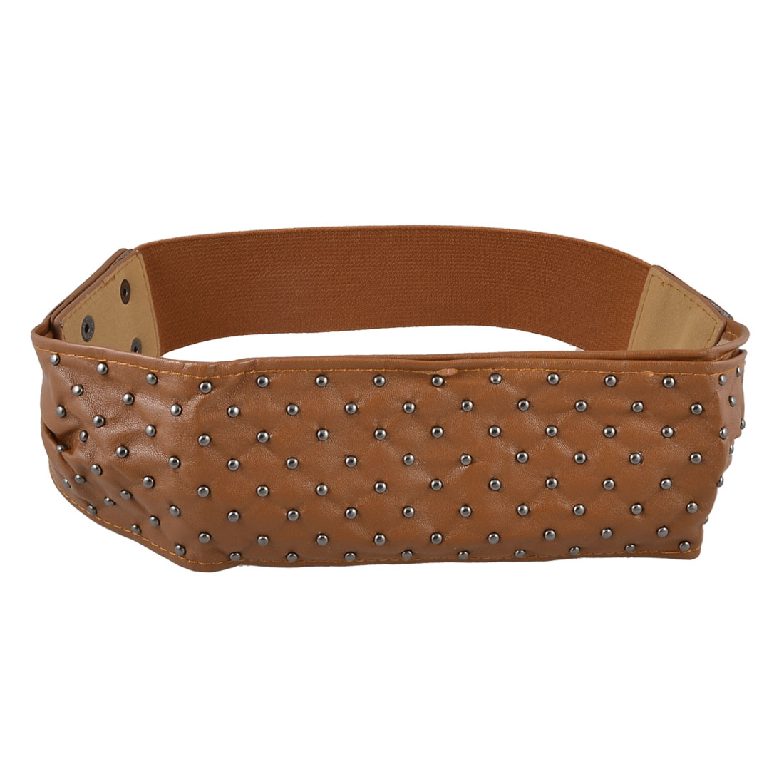 Brown Soft Faux Leather Press Button Stud Stretchy Waistband Belt for Women