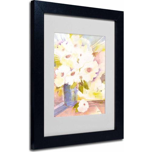 "Trademark Fine Art ""Boquet In White"" Matted Framed Art by Sheila Golden, Black Frame"
