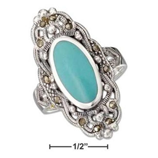 Plum Island Silver P-011307-06 Sterling Silver Oval Bezel Set Turquoise and Filigree Marcasite Ring - Size 6