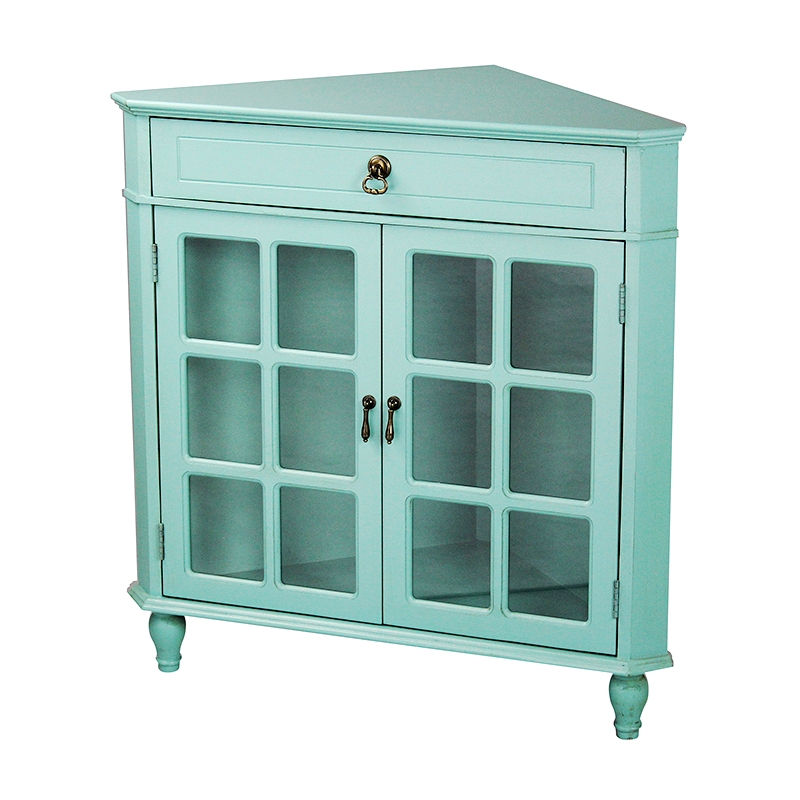 Delicieux Turquoise Wood Clear Glass Corner Cabinet With A Drawer, 2 Doors U0026 Paned  Inserts
