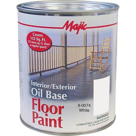 Majic Paints 8-0074-2 Floor Paint, White, Medium-Gloss, 1 qt Pail